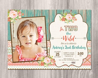 2nd birthday invitation girl, in Two the wild invite, second birthday boho tribal aztec, young wild and two, digital, Printable Invitation