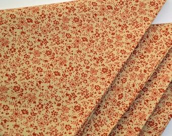 Napkins Floral Pattern on Light Beige Cotton Set of 4