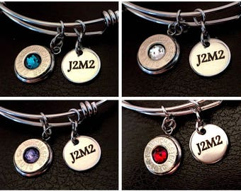 Birthstone J2M2 Bullet Casing Bangle