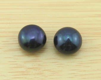 Big 11-12 mm Natural Pearl  Beads Deep Black beads  pearl earring beads  Half Drilled Pair For Earrings or Rings 1 Pair Beads -JB060