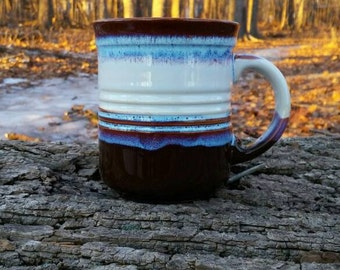 Vintage Brown and Blue Kiln Craft Mug