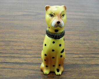 Ceramic Spotted Dog Hinged Trinket Box