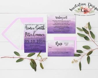Digital Wedding Invitation Amethyst purple watercolour ombre ready to print file
