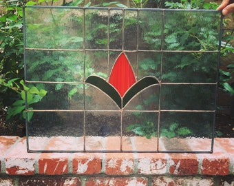 Red flower stained glass window
