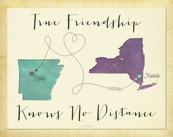 Long Distance Best Friend Gift, Going Away Gift for Friend, Friendship Quote Print, BFF Gift, Map Art, Customize With Any Two Places, (16b)