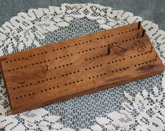 Traditional Track Engraved Cribbage Board Made of Tiger Wood