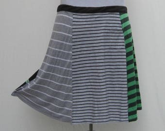 Green striped Skirt, plus size t skirt, upcycled t shirt skirt, 1x 2x 3x 4x, green t skirt, gray grey skirt, gray t skirt, striped t skirt