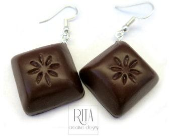 CHOCOLATE earrings  - Polymer clay FIMO jewelry. Charm earrings. Mini food jewelry. Polymer clay sweets, Cute jewelry.