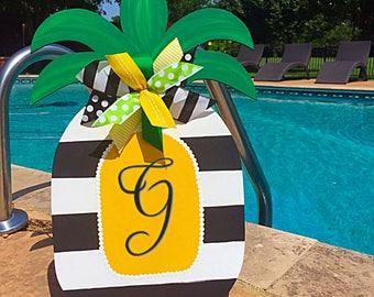 Pineapple Door Hanger, Summer Door, Pineapple Wreath, Pineapple Decor, Pineapple Sign, Summer Wreath