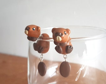 Beaver Earrings, dangly tails, cute, two part stud, fake gauge, jewelry