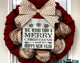 Candy Cane Burlap Wreath - Christmas burlap Wreath - Red, Natural with  White Chevron  Ribbon, Winter Burlap Wreath, Welcome Wreath, Wreath