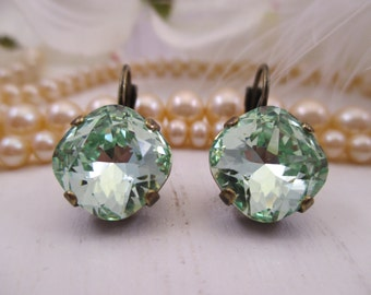 Swarovski crystals/12mm square cushion cut chrysolite earrings/Cup chain earrings/Green earrings