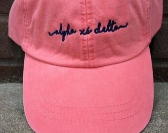 Alpha Xi Delta Handwriting Script Baseball Cap - Officially Licensed Greek Merchandise - A Xi D Shoreline Hat