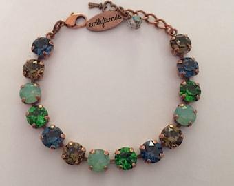 Blue/Green/Mint/Brown Swarovski Crystal Bracelet in Antique Copper Setting (8mm) by emilytrends