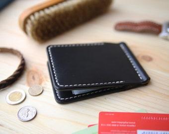 Mens leather wallet, Money Clip Wallet, Mens Clip Wallet, Mens Leather Bifold Wallet, Black Horween Chromexcel