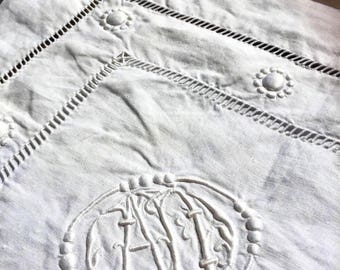 2 old pillowcases, wire linen, great AD Monogram, embroideries, days scales embroidered hand