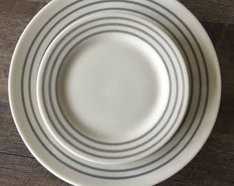 Vintage Restaurant Plates, Grey Stripe Plates, Grey Restaurant Ware, Sultana ABC China, dinner plates, bread plate, diner china, gray dishes