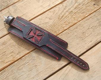 Rock star, Wristband Leather Man Gift, Handmade.  Biker