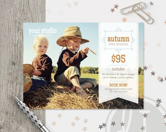 Fall Mini Session Template - Instant Download, Fall Marketing Board, Photoshop Template for Photographers, Text Overlay, Autumn Marketing