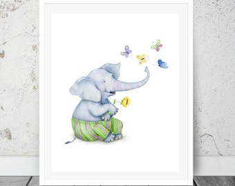 Elephant Kids animal print, Nursery decor Print, Kids prints, Wall Art, Nursery print, Playroom Art, Printable, Instant download