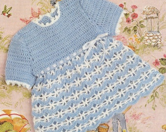 Baby crochet dress pattern pretty baby dress pdf INSTANT download baby pattern only 1970s vintage