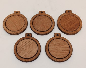 Mini wood embroidery hoop/frame for diy pendant/xmas ornaments (set of 5) - 1 inch