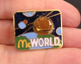 Vintage McDonalds McWorld Cheeseburger Vintage Tack Pin Golden Arches Space Employee Crew pin