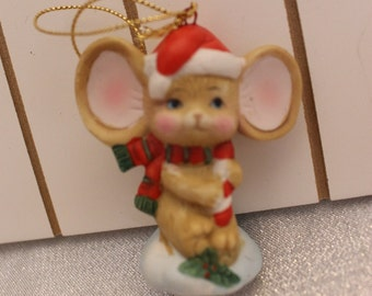 Beautiful Porcelain Mouse Christmas Ornament in a Santa Hat and Scarf