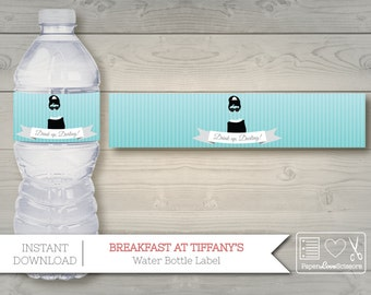 """Printable Breakfast at Tiffany's Water Bottle Label 