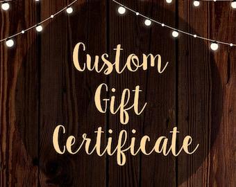 Custom Gift Certificate Design - Custom Gift Card - Coupon Design - Voucher Design - Gift Voucher