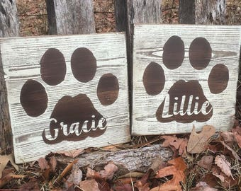 Wooden Sign - Pet Paw Print - Sign - Personalized - Rustic
