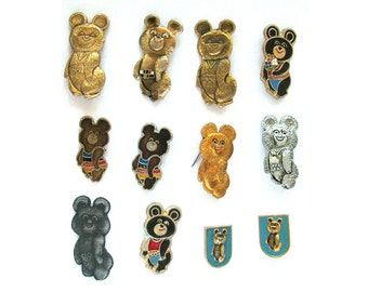 Olympic Bear Misha, Set of 12 Vintage badges in bad condition, Soviet Vintage Pin, Vintage Badge, Sale, Made in USSR, 1980s