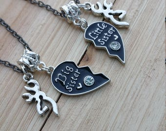 Big Sister Little Sister Interlocking Heart Necklace with buck charms