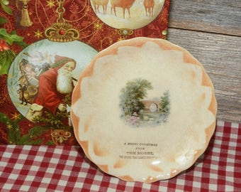 VINTAGE CHRISTMAS PLATE: Small Christmas advertising plate