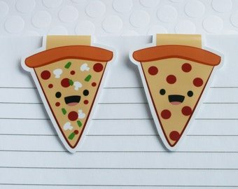 Pizza Magnetic Bookmarks, Set of 2 Pizza Slices Paper Clips for Planners or Cookbooks, Page Markers for Reading, Kawaii Food Book Marks