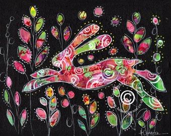 Bounding Hare #142 Original Painting