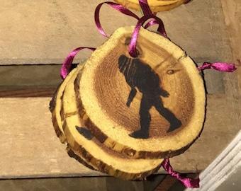 Sasquatch wood burned ornament