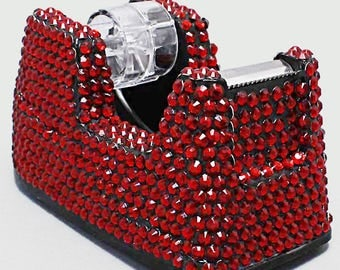 Red Rhinestone And Crystal Tape Dispenser