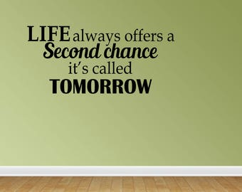 Wall Decal Quote Second Chance Vinyl Wall Decals Vinyl Letters Wall Quotes Inspirational Decal Life Decal (PC115)