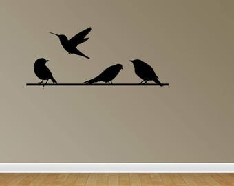 Wall Decal Quote Birds On A Wire Vinyl Decal Sticker Vinyl Wall Stickers (PC277)