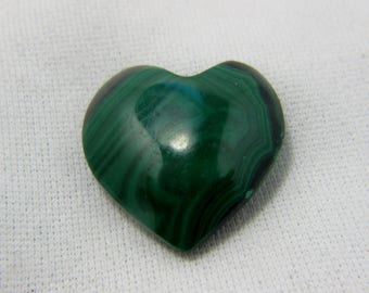 Malachite Heart, Puffed Heart, Malachite Cabochon, Malachite Gemstone, Malachite Jewelry, Wire Wrap, Protection,  22 x 22 x 8 mm  #57