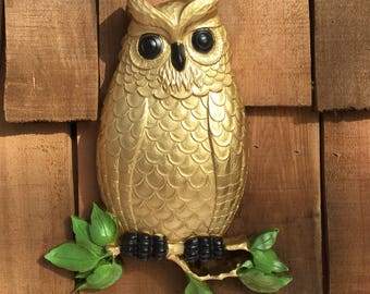 Vintage Homco Owl Upcycled Up Cycled Wall Plaque Wall Hanging Gold Owl 1970's Owl Wall Plaque