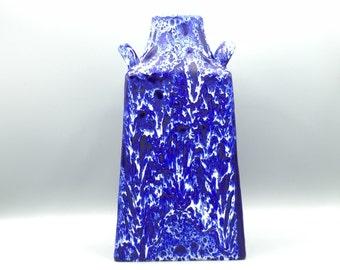 ES - Keramik square handled vase, Emons and Söhne , blue white vulcanic vintage  vase, height : 27 cm.  Mid Century 1960s / 1970s  WGP.