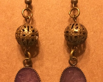 Antique brass and purple hand painted hook earrings