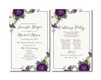 PRINTABLE Wedding Program, Ceremony Program, Order of Service Program, Wedding Party Program, Ceremony Order of Service #CL307