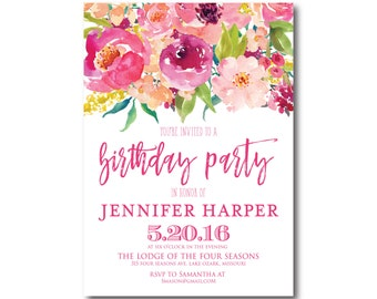 Floral Birthday Invitation, Boho Birthday Invitation, Girl Birthday Invitation, Watercolor Flower, Floral Birthday Party Invitation #CL117