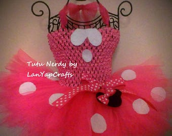 Minnie Mouse Bowtique Pink and White Tutu Dress Halloween Costume from LanYapCrafts Disney Baby Toddler Girls