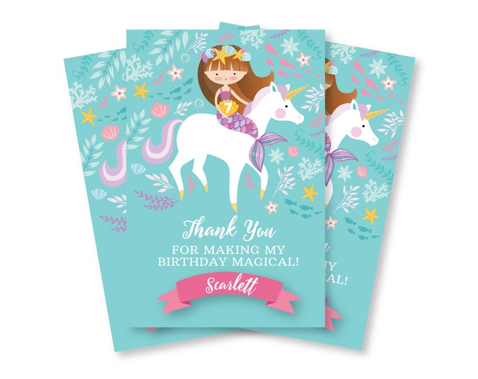 Mermaid, Unicorn Thank You Card, Customized Printable DIY, Girl's Mermaid Unicorn Thank You