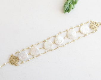 Pearl Bracelet, Pearl Wedding Bracelet, Pearl Bridal Bracelet, Gold Pearl Bracelet, Wedding Bracelet, Bridal Bracelet, Wedding Jewellery