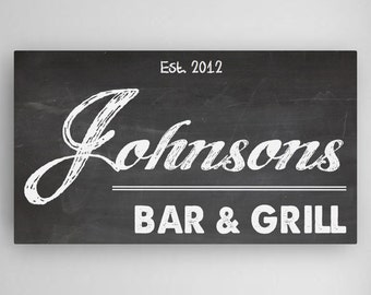 Personalized Bar and Grill Sign - Family Name Bar and Grill Canvas - Man Cave Bar Sign - Man Cave Art - CA023 Chalkboard